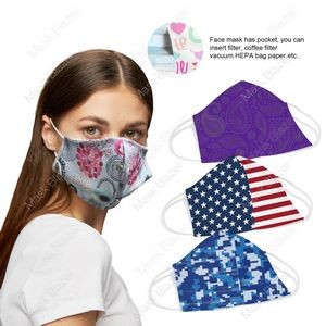 3D stereo profile Custom Pattern Face Mask with Filter Pocket